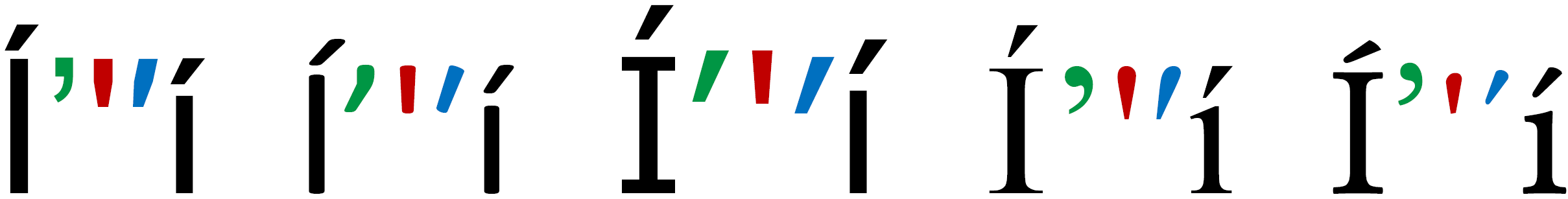 Typographic (green) and typewriter (red) apostrophe, followed by a prime (blue), between letters Í and í (using acute accent), in writing